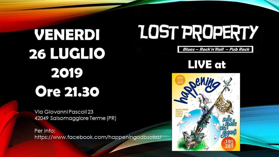 Happening Oratorio don Bosco Salsomaggiore Terme: Lost Property rock'n roll, blues, dance