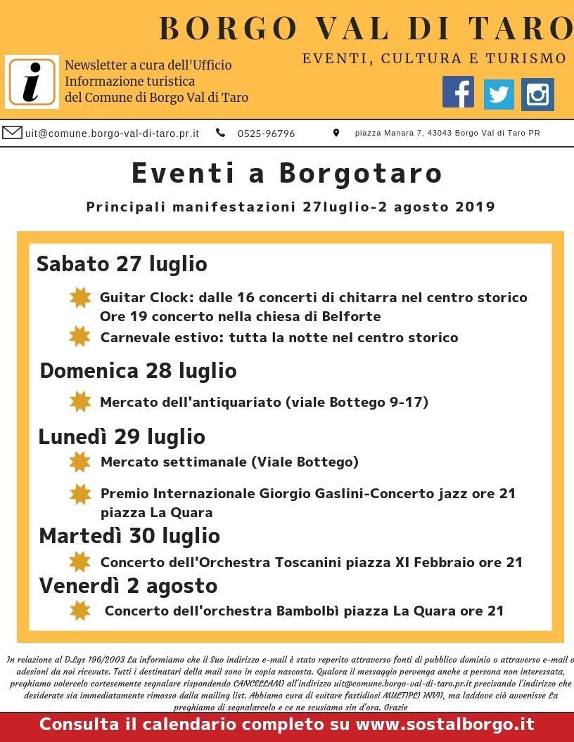 Eventi a Borgotaro dal 27 luglio al 2 agosto