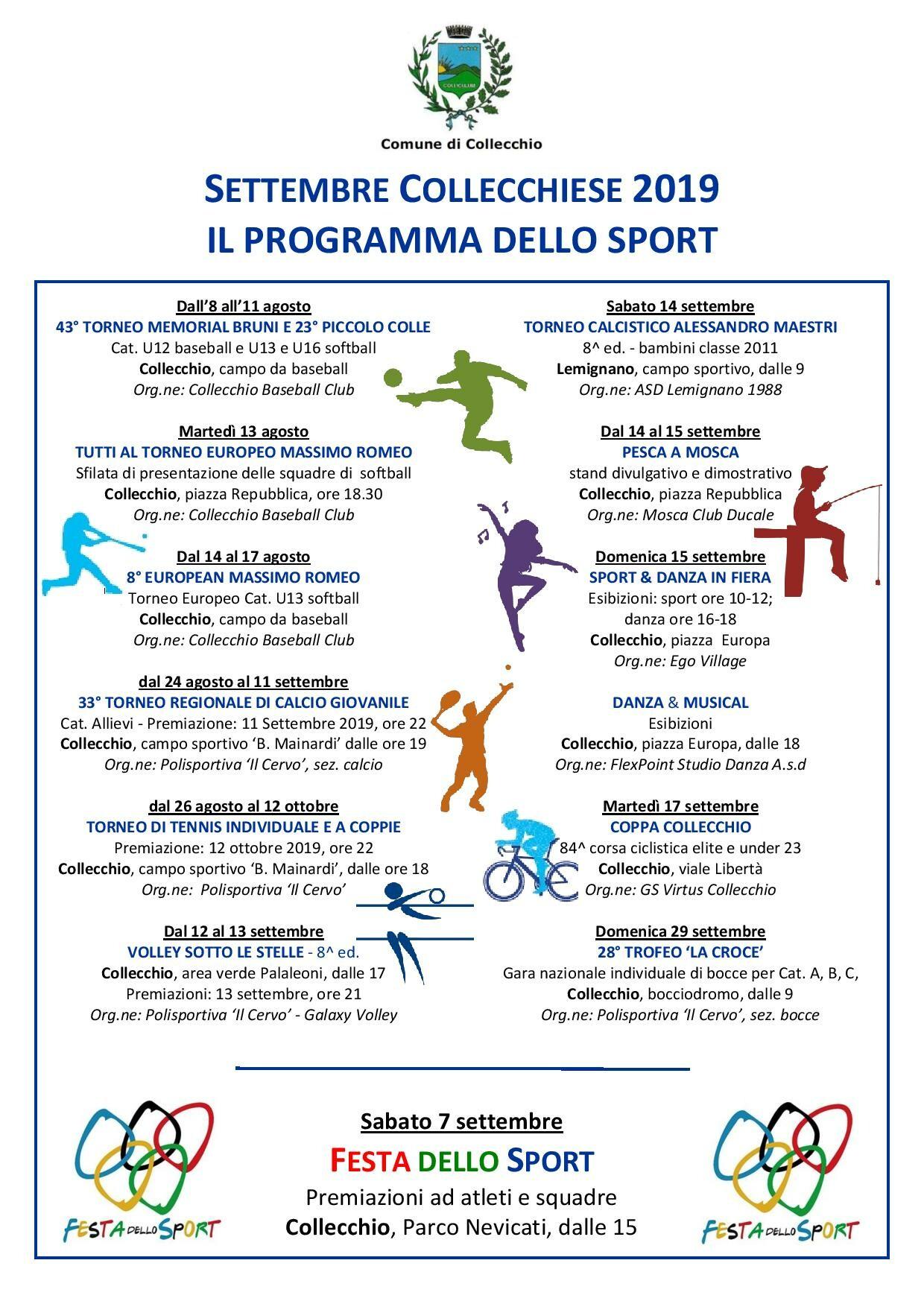 Settembre Collecchiese edizione 2019: programma sportivo