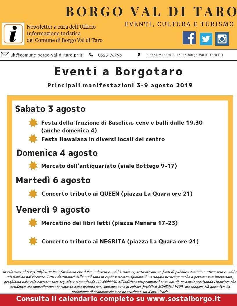 Eventi a Borgotaro dal 2 al 9 agosto