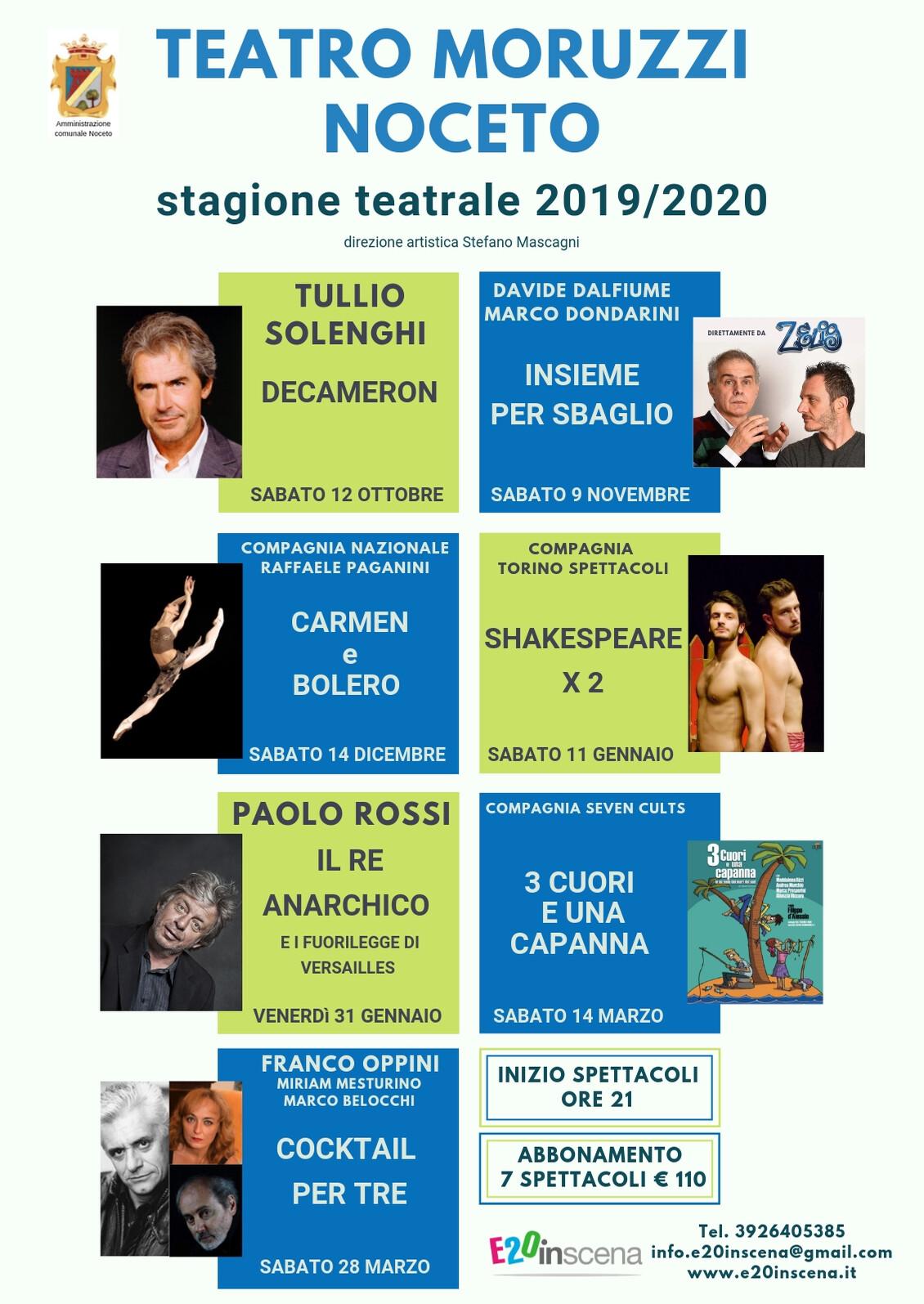 Teatro Moruzzi  a NOCETO:  Stagione Teatrale 2019/2020