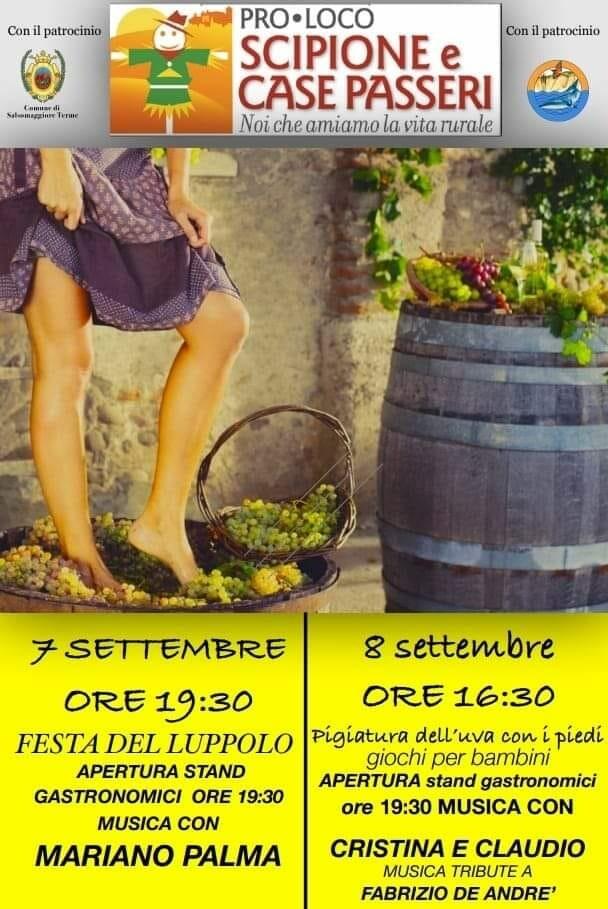 Festa del luppolo e pigiatura dell'uva a Scipione