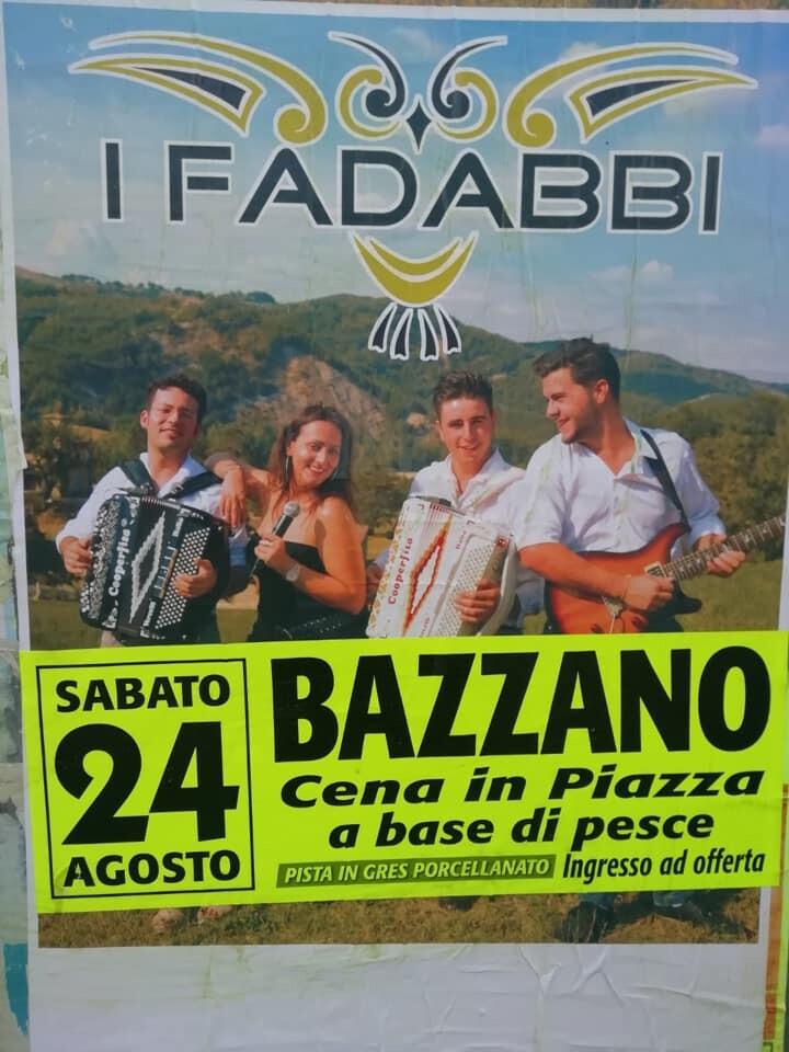 A Bazzano cena in piazza e musica con i Fadabbi