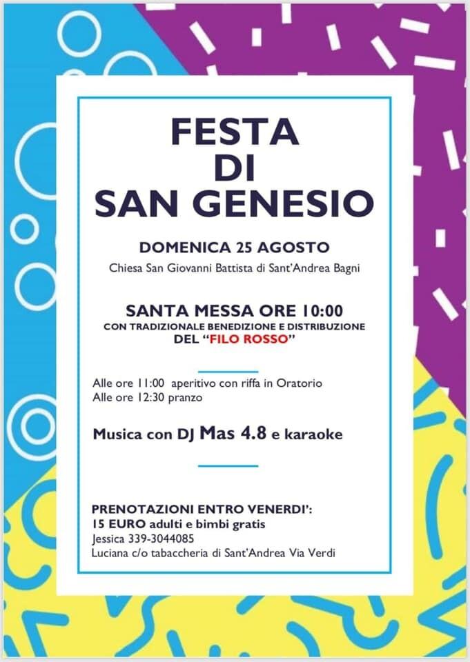 """""""Festa di San Genesio"""" a Sant'Andrea Bagni!!!"""