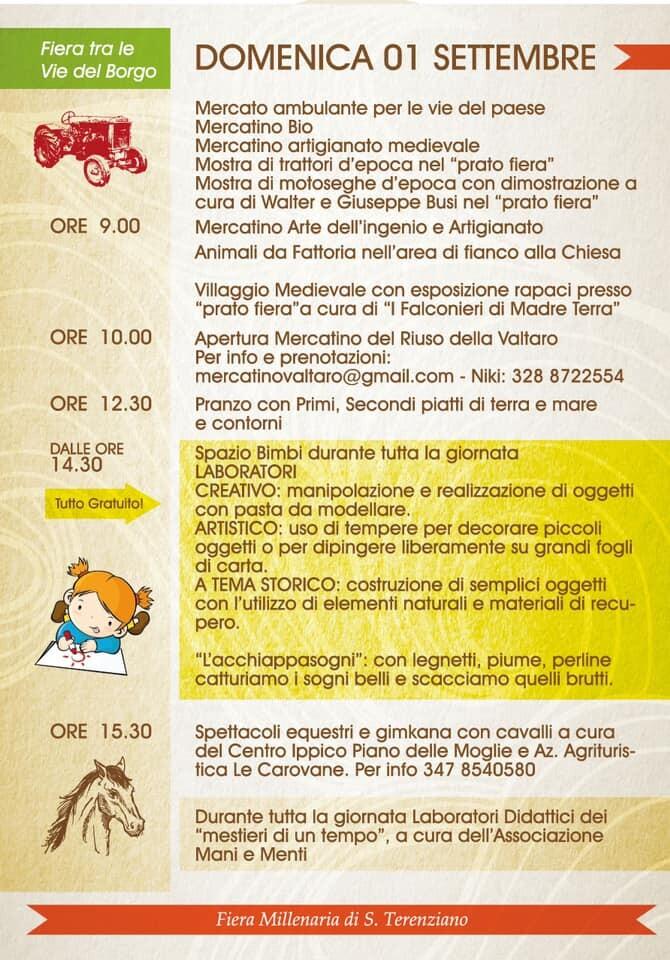Fiera millenaria di San Terenziano: programma del 1° settembre