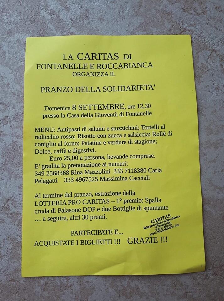PRANZO DELLA SOLIDARIETÀ  Organizzato dalla Caritas di Roccabianca e Fontanelle