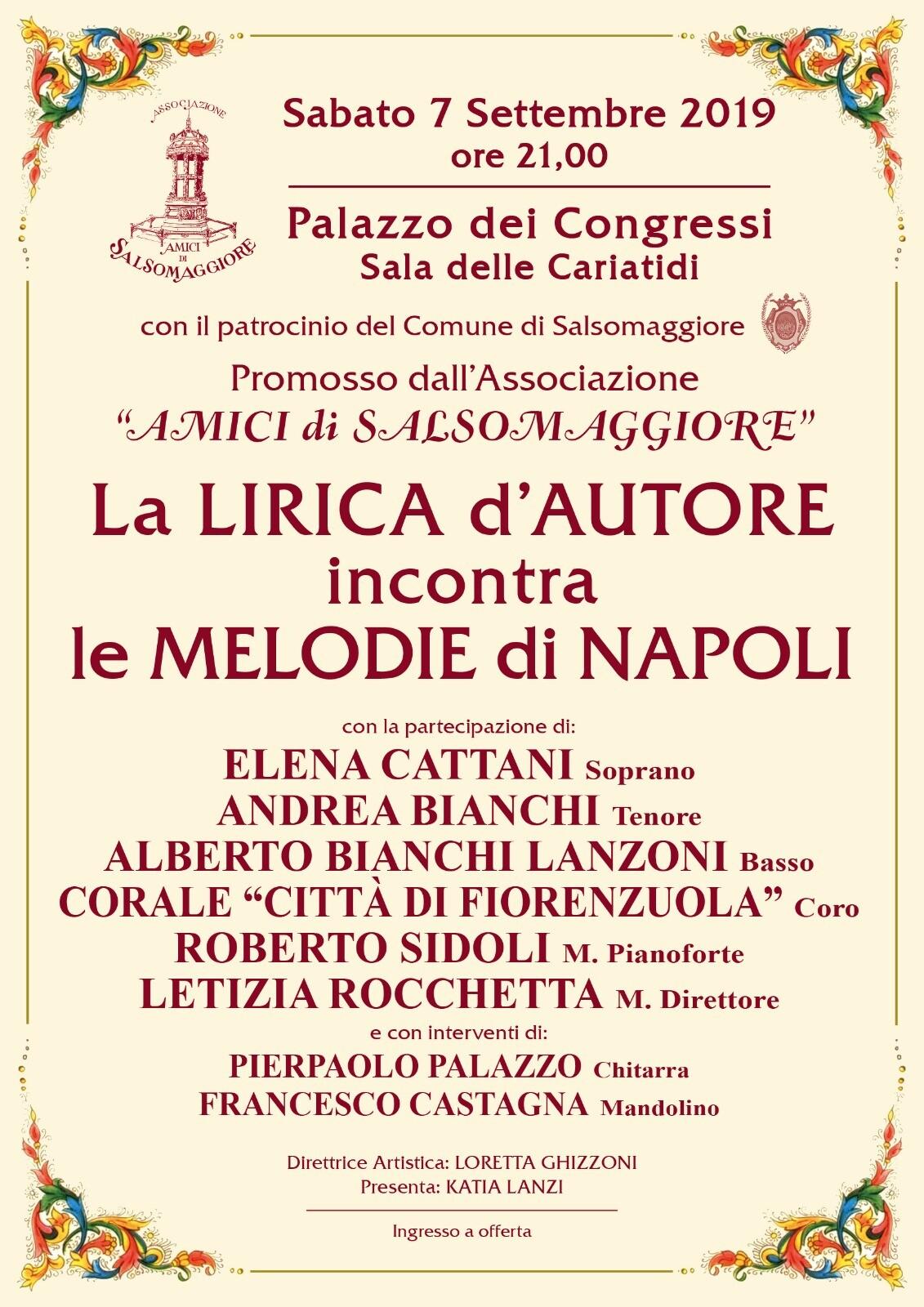 """Grande Concerto Lirico  """"La lirica d'Autore incontra le  melodie di Napoli"""""""