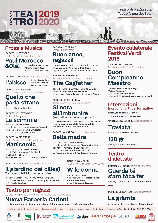 TEATRO DI RAGAZZOLA  ARENA DEL SOLE ROCCABIANCA  stagione teatrale 2019_20