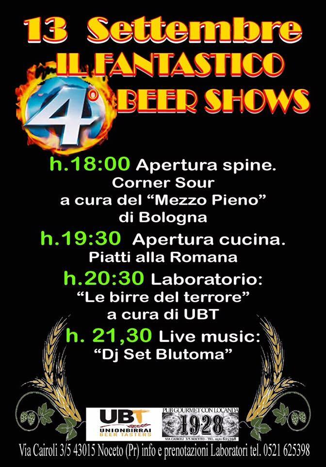 Il Fantastico 4* Beer Shows al Pub Gourmet 19.28 Ristorante