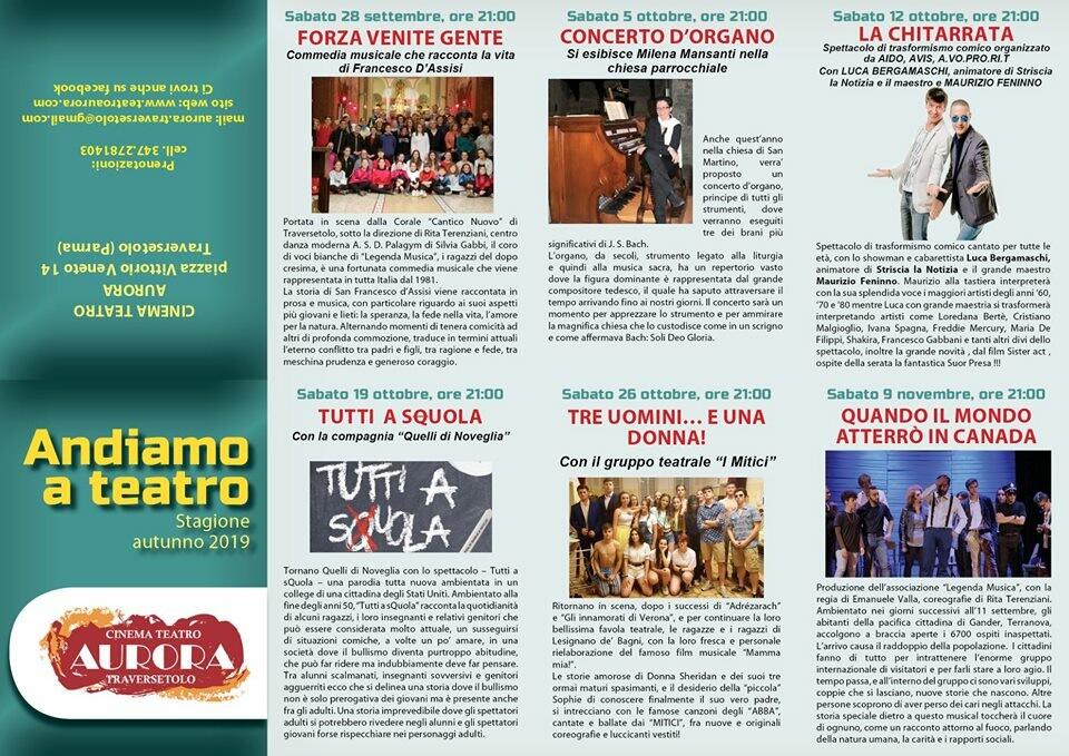 """""""Andiamo a teatro"""" stagione teatrale del Cinema Teatro Aurora Traversetolo"""