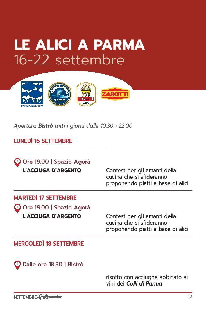 Settembre gastronomico: le alici di Parma Programma dal 16 al 18 settembre