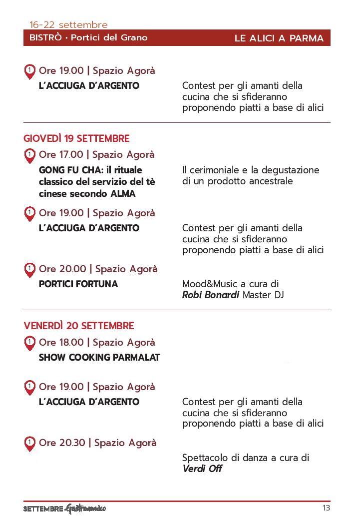 Settembre gastronomico: le alici di Parma Programma dal 18 al 20 settembre