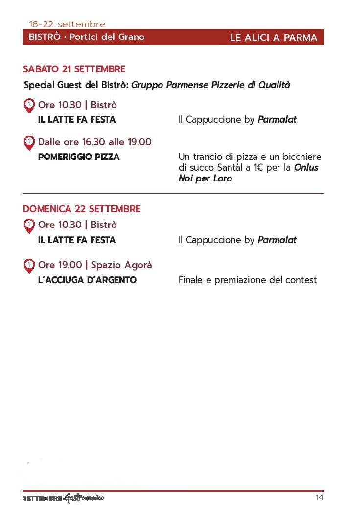 Settembre gastronomico: le alici di Parma Programma dal 21 al 22 settembre