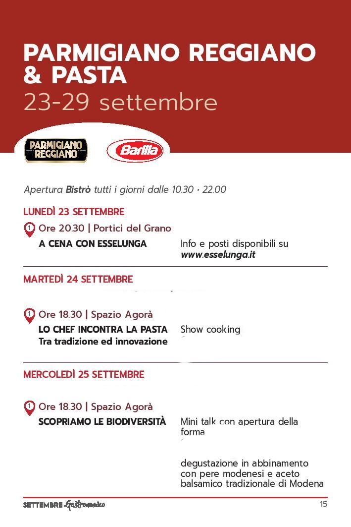 Settembre gastronomico: Parmigiano reggiano e pasta Programma dal 23 al 25 settembre