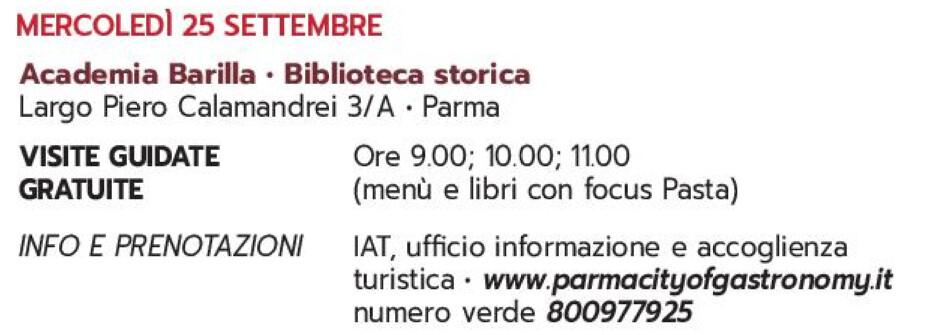 Settembre gastronomico: visita guidata all'Accademia Barilla
