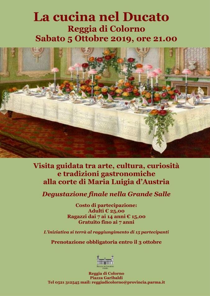 La Cucina nel Ducato, Sabato 5 Ottobre alla Reggia di Colorno