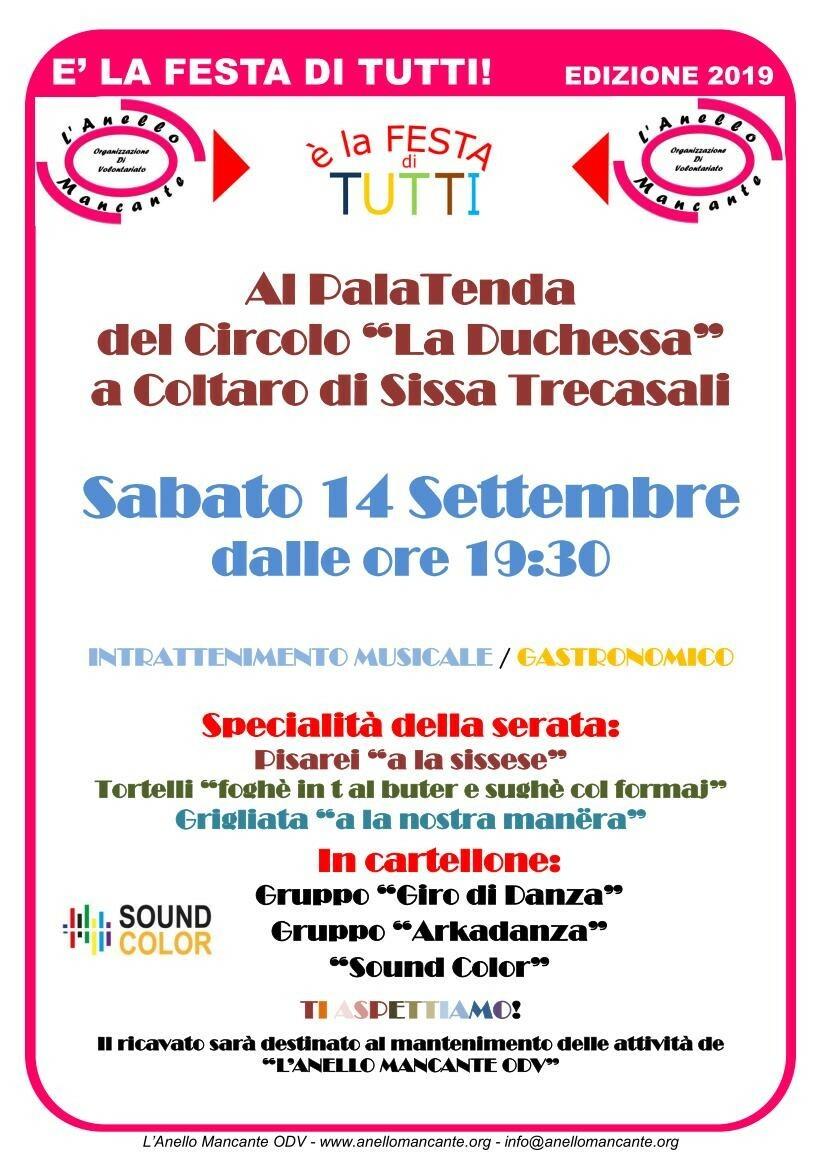 E' la festa di tutti Il 14 settembre l'evento proposto dall'associazione L'Anello Mancante