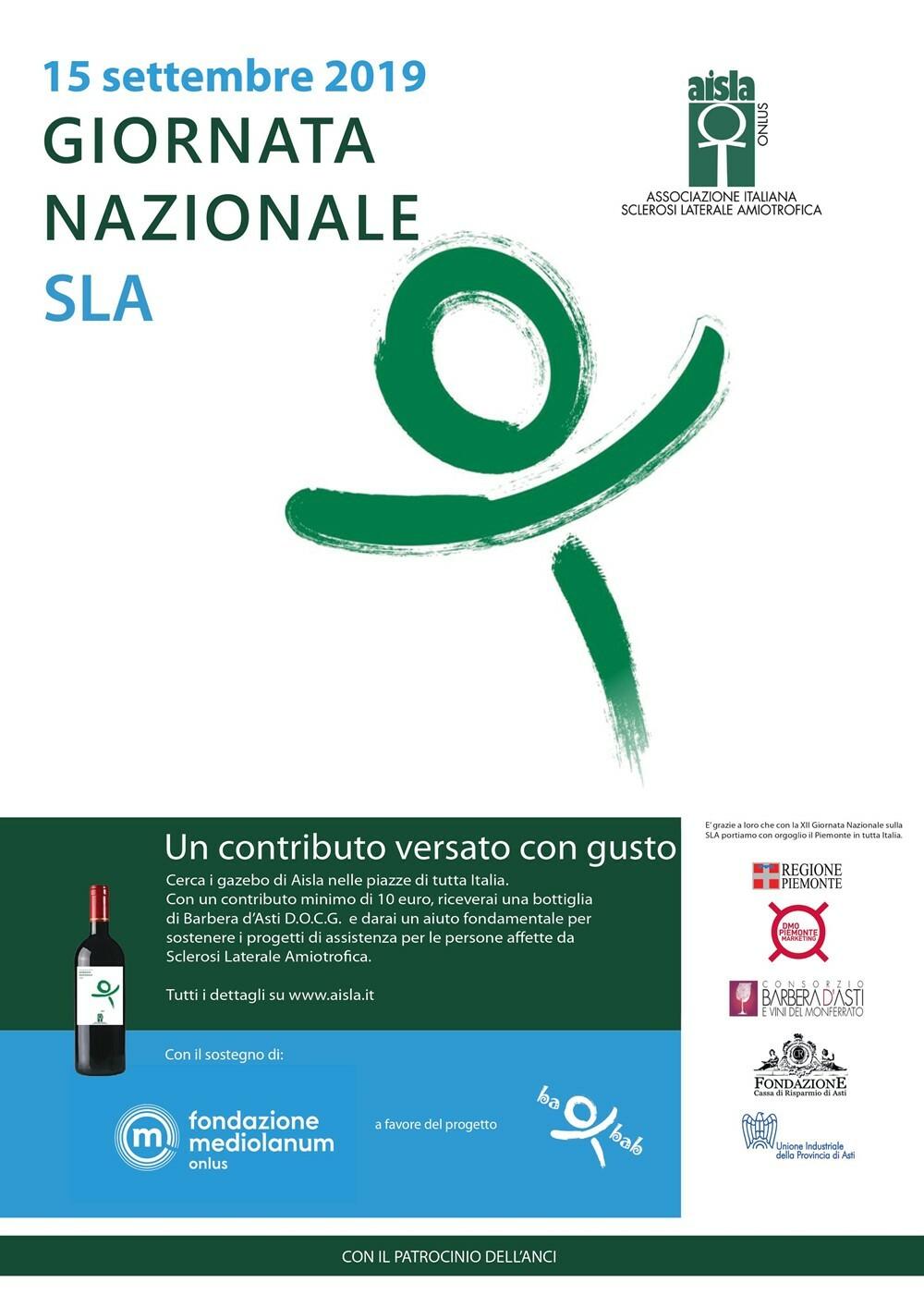 Giornata Nazionale SLA 2019 Il 15 settembre l'evento nazionale di sensibilizzazione e raccolta fondi