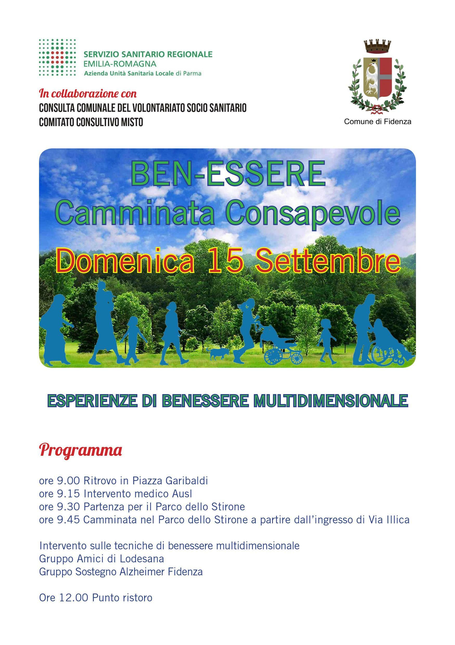 Camminata consapevole Il 15 settembre la camminata promossa dalla Consulta Comunale del Volontariato di Fidenza