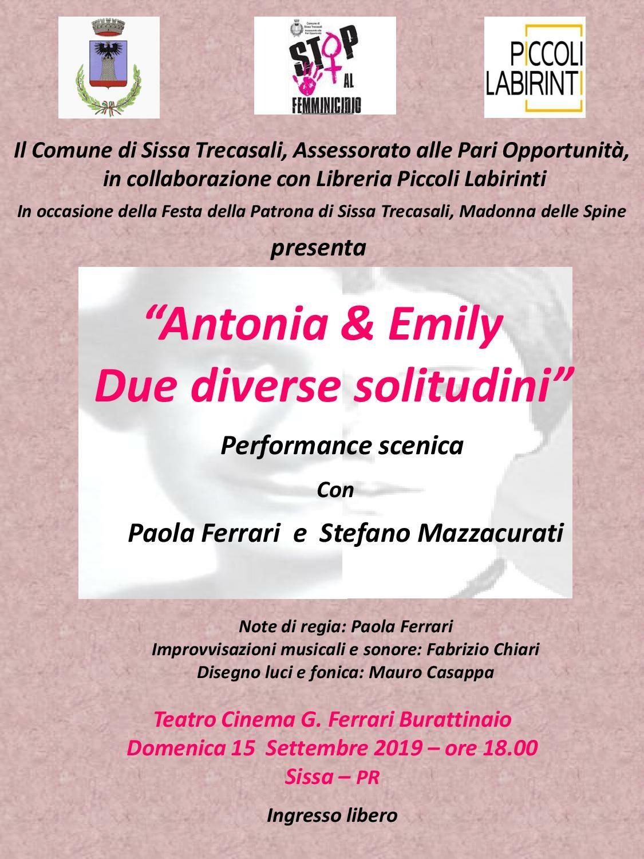 """""""Antonia & Emily.  Due diverse solitudini""""     Performance scenica  con Paola Ferrari e Stefano Mazzacurati"""