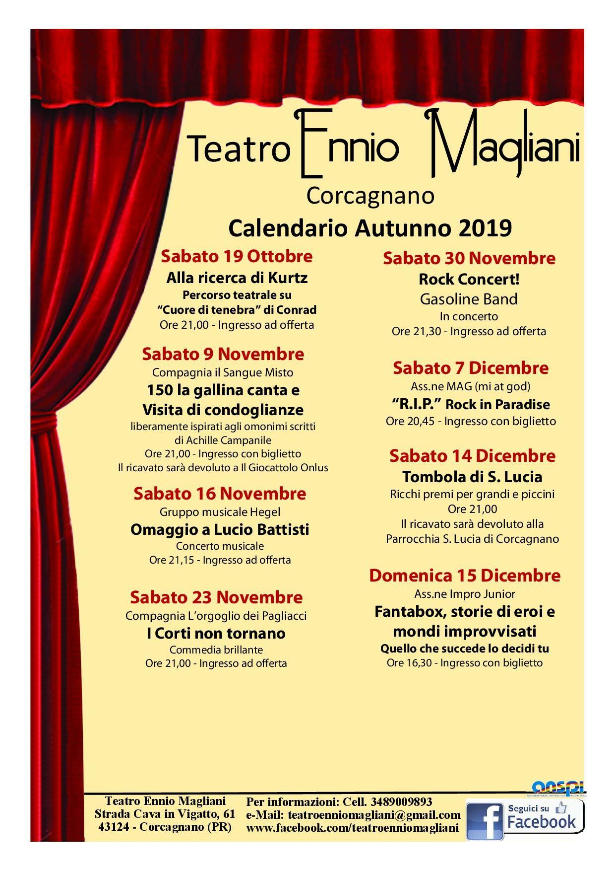 Teatro Ennio Magliani: programma autunnale