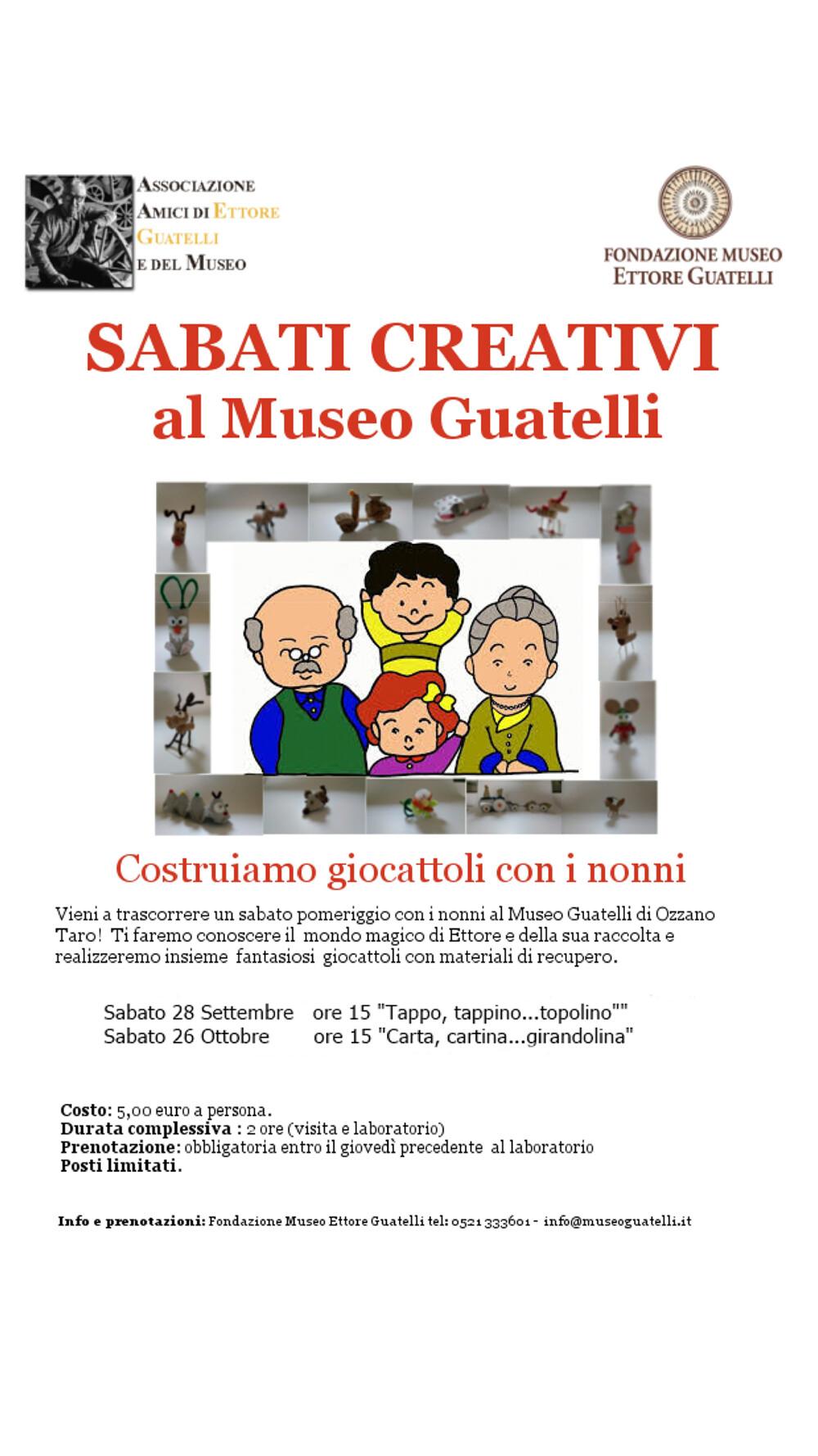 """Costruiamo un giocattolo con i nonni Dal 28 settembre tornano i """"sabati creativi"""" al Museo Guatelli  Tornano i sabati creativi al Museo Guatelli"""