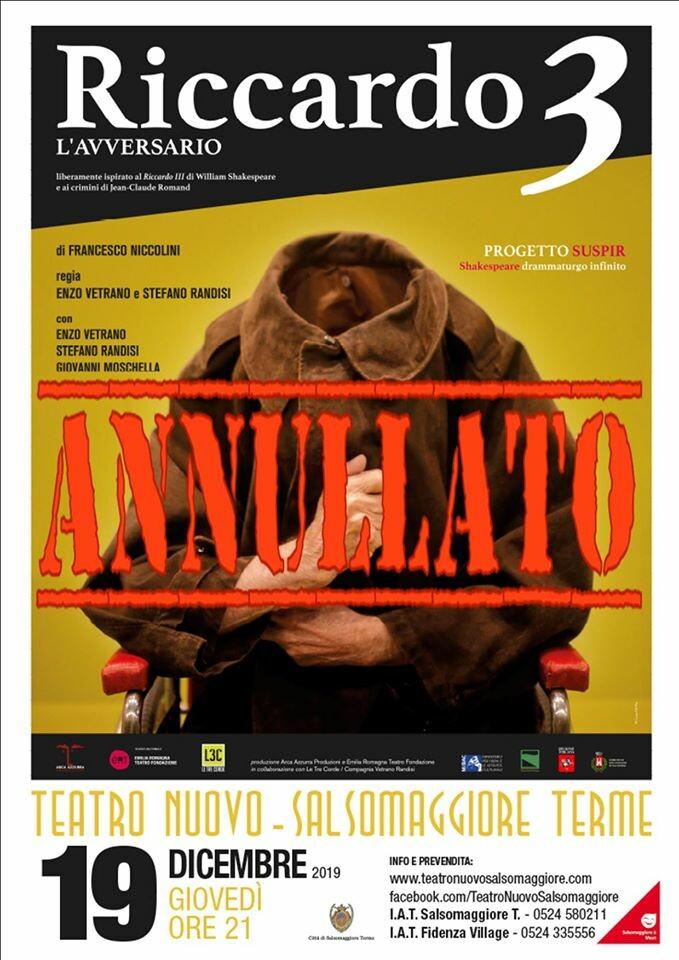 Enzo Vetrano e Stefano Randisi  Riccardo 3. L'avversario al Teatro Nuovo di Salsomaggiore