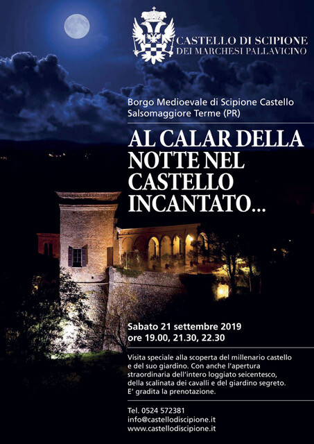 Al calar della Notte nel Castello  incantato …..  Visita speciale alla scoperta del  millenario Castello e del suo  giardino.