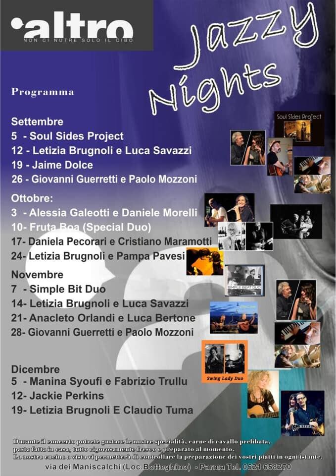Jazzy Night all'Altro ristobar , programma fino a Dicembre