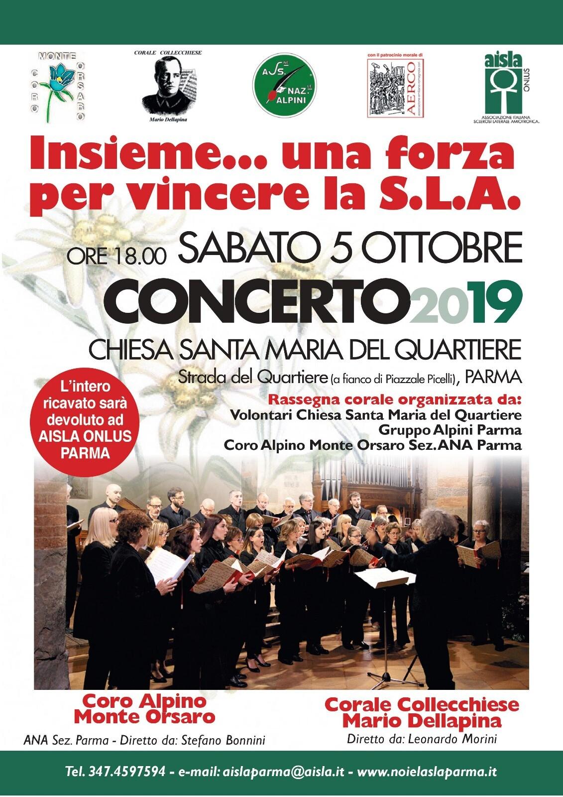 """""""Insieme… una forza per vincere la S.L.A.""""  Concerto corale benefico nella Chiesa di Santa Maria del Quartiere"""