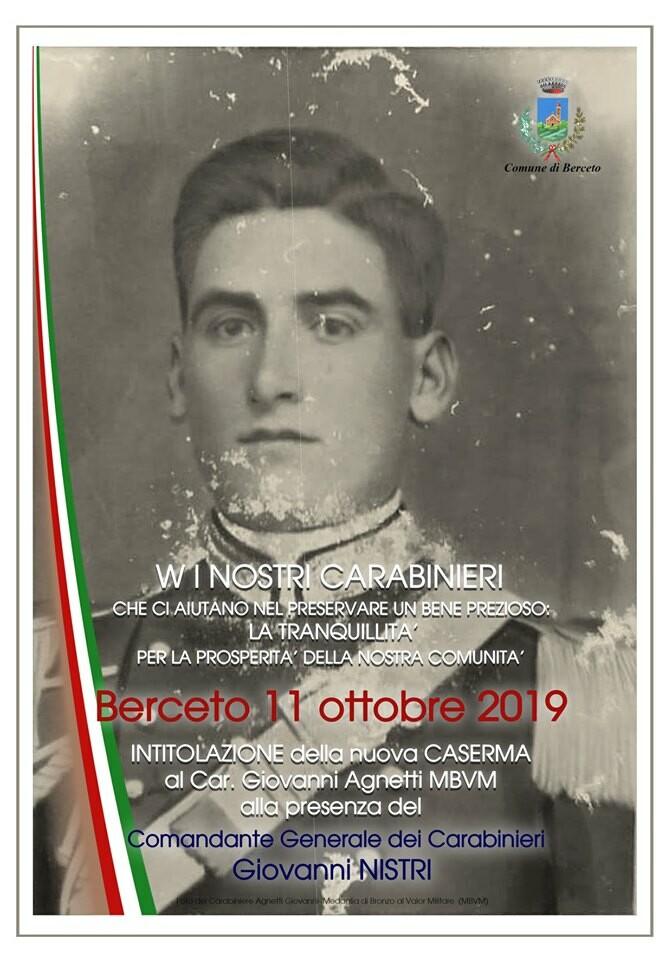 Intitolazione della caserma dei carabinieri a Giovanni Agnetti alla presenza del comandante generale Giovanni Nistri