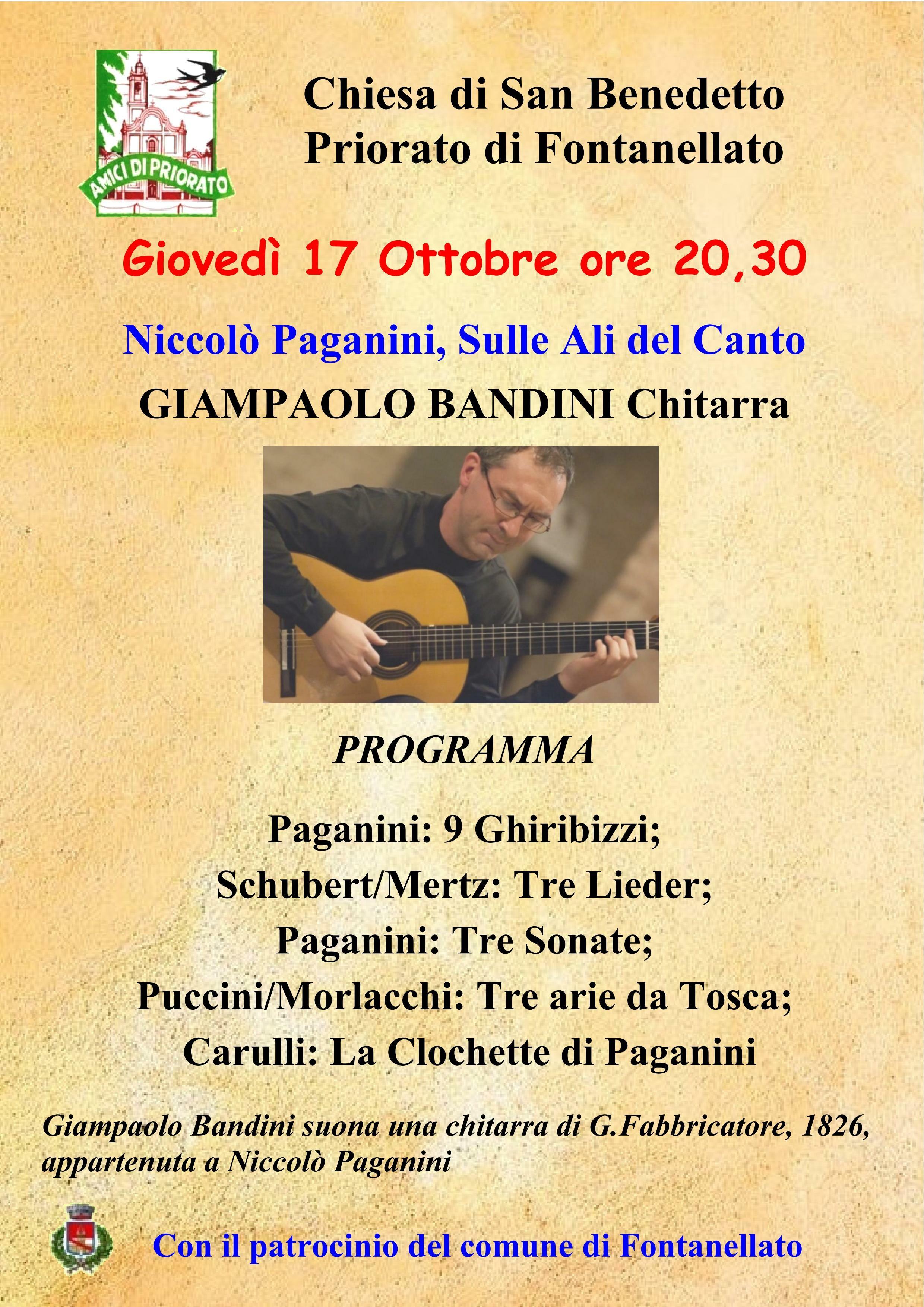 Concerto di Gianpaolo Bandini che suonerà la chitarra originale del 1826 appartenuta a Niccolò Paganini