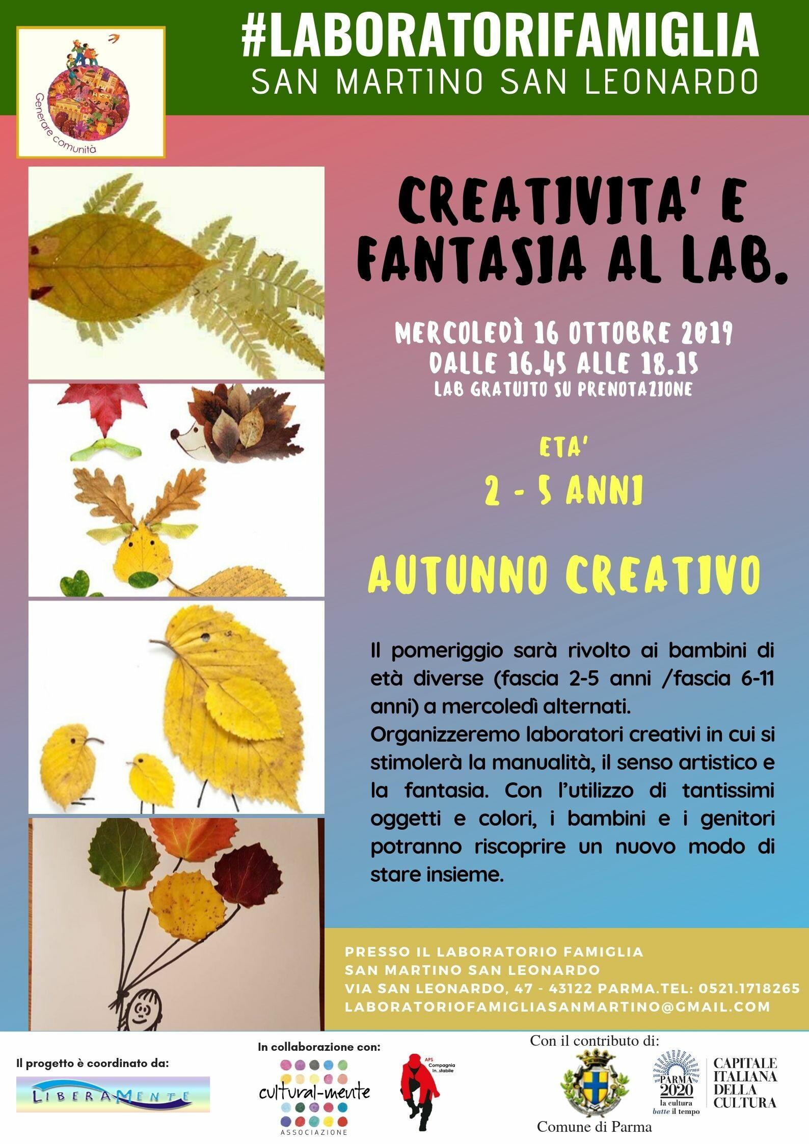 AUTUNNO CREATIVO, laboratorio creativo per bambini al Laboratorio Famiglia