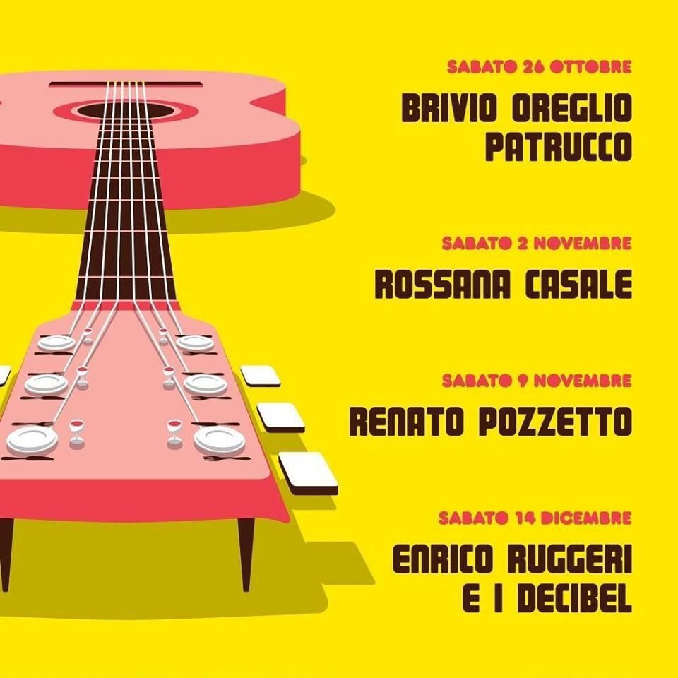 Mangiamusica 2019 al Teatro Magnani con Roberto Brivio, Flavio Oreglio, Alberto Patrucco, Rossana Casale, Renato Pozzetto, Enrico Ruggeri e i Decibel