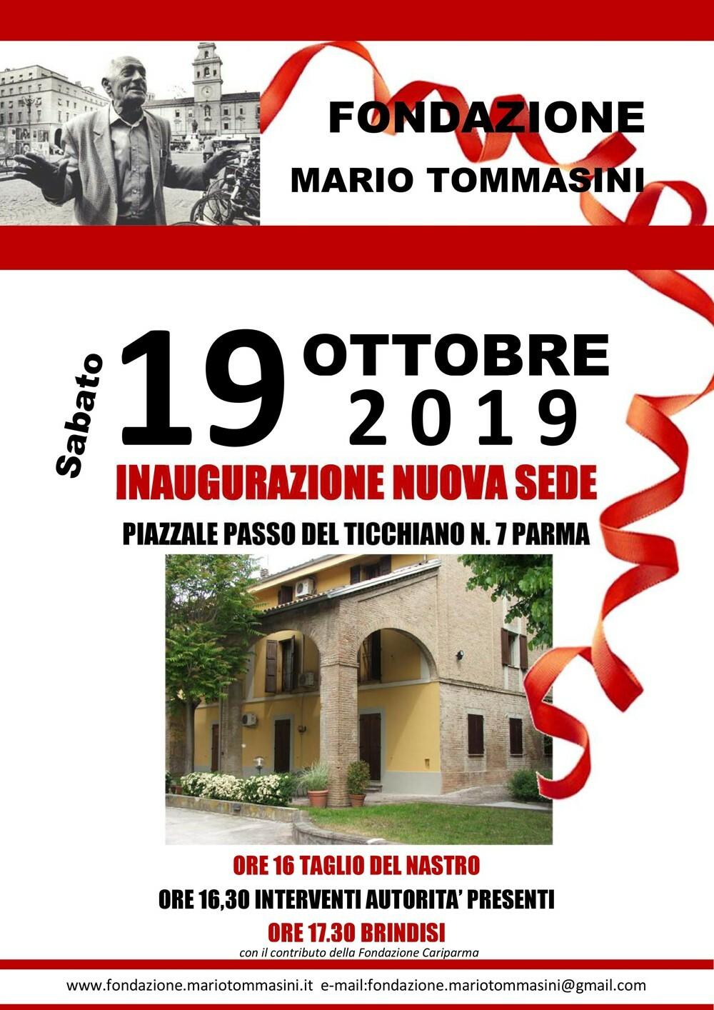 Fondazione Mario Tommasini Il 19 ottobre l'inaugurazione della nuova sede