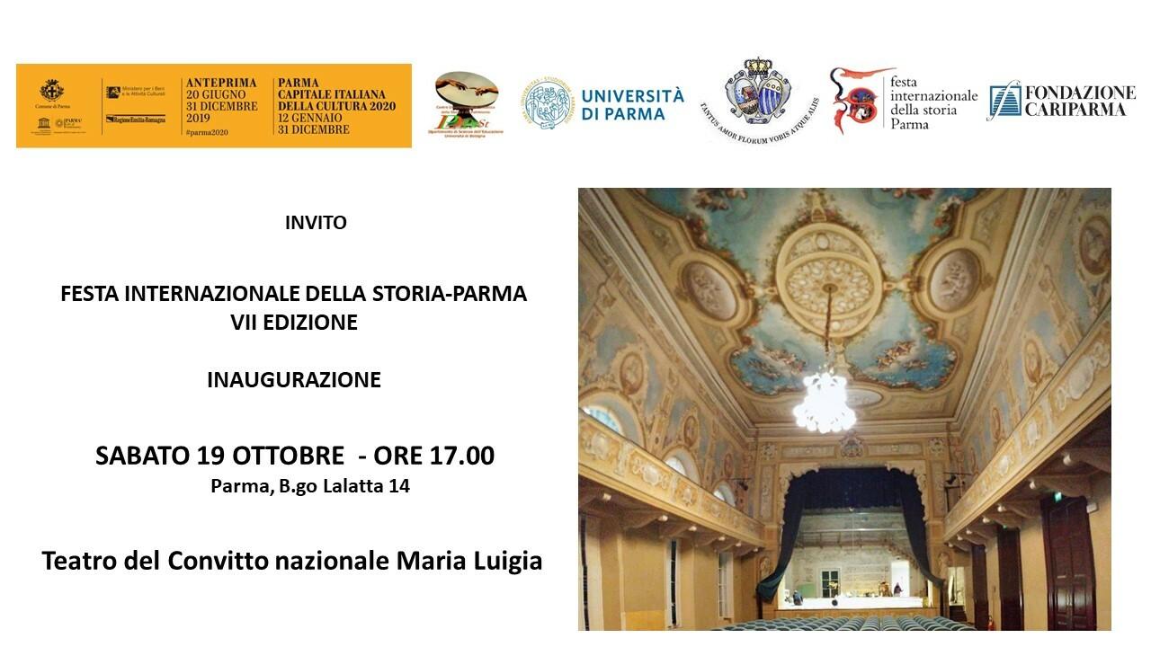 Inaugurazione della  VII edizione della Festa Internazionale della Storia-Parma.