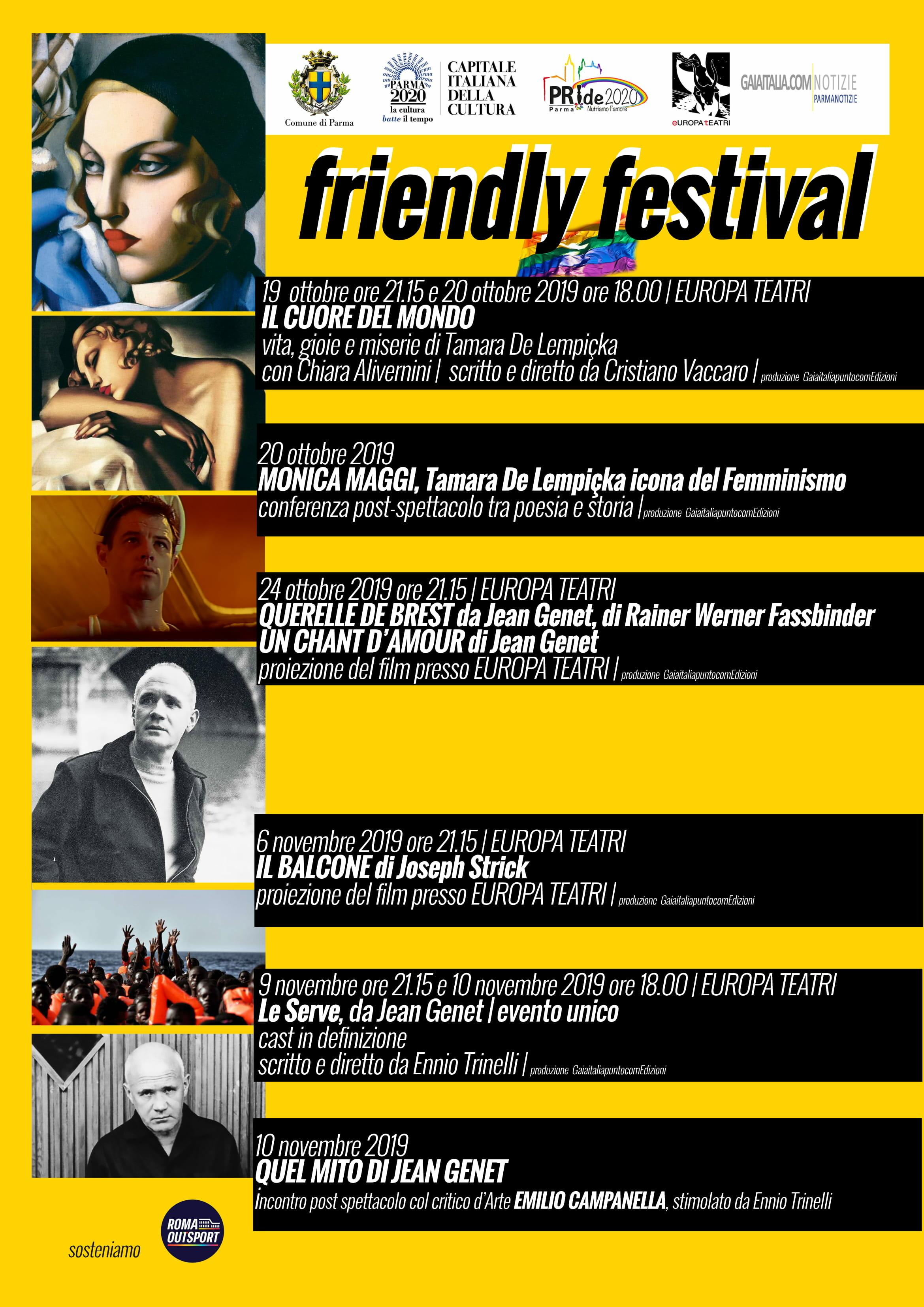 Friendly Festival  al Teatro Europa al 19 Ottobre al 9 novembre in scena Tamara de Lempicka e Jean Genet icone d'arte e di vita.