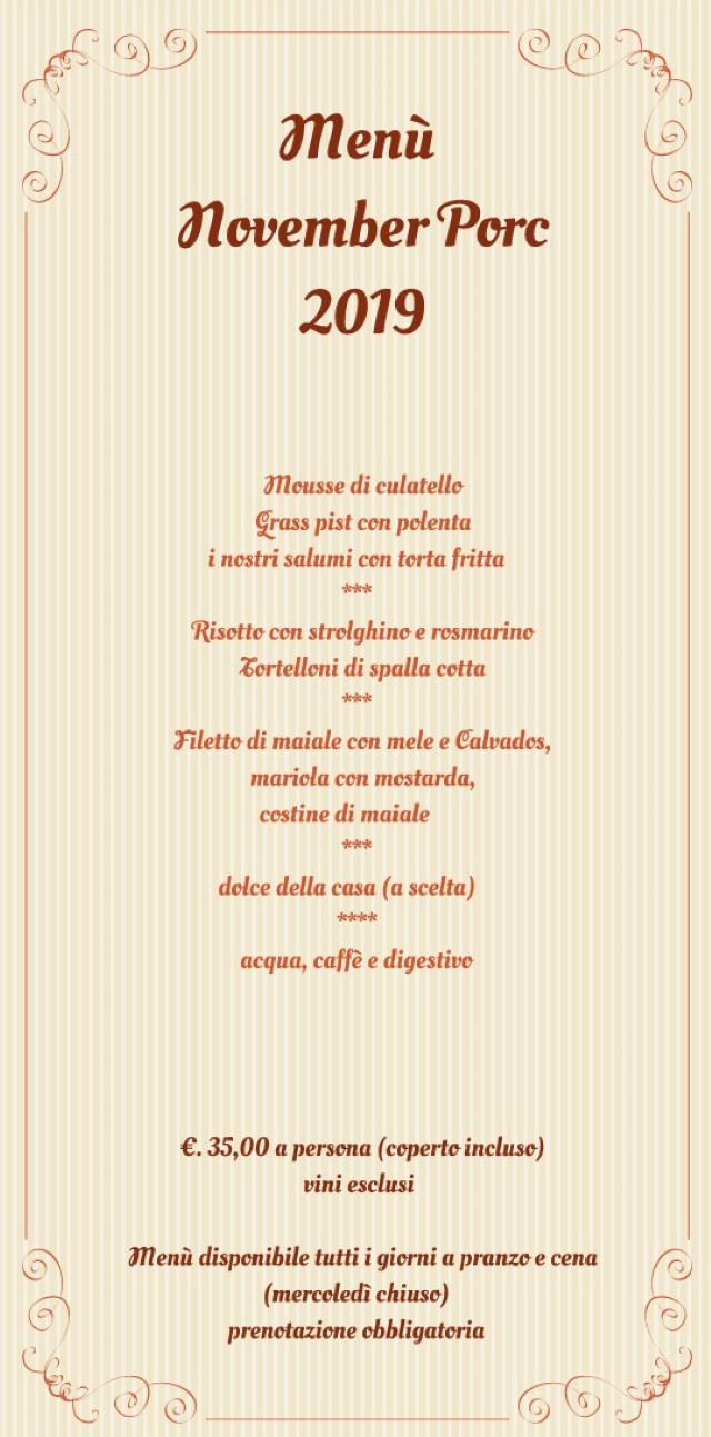 """Alle Roncole menù """"November Porc"""""""