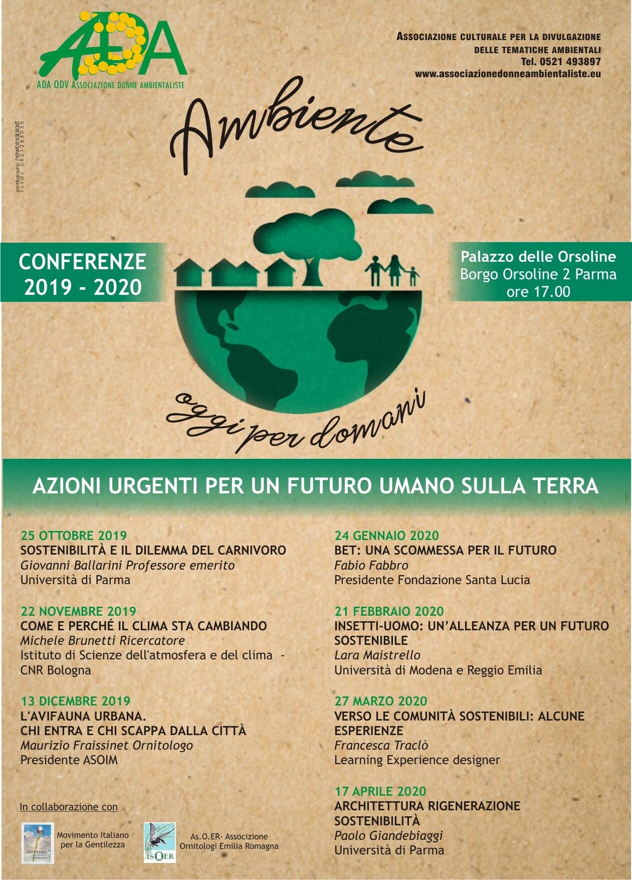 """""""Ambiente oggi per domani. Azioni urgenti per un futuro umano sulla Terra"""" è il tema del nuovo Ciclo di conferenze proposte da ADA"""