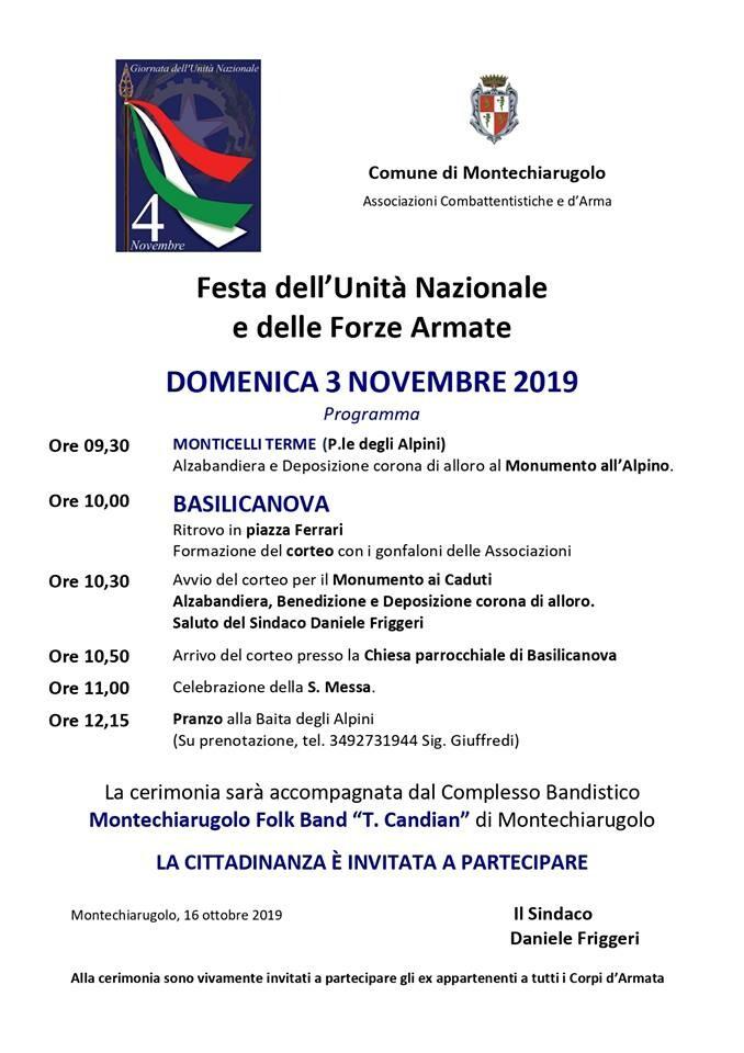 FESTA DELL'UNITA' NAZIONALE E DELLE FORZE ARMATE  a Basilicanova