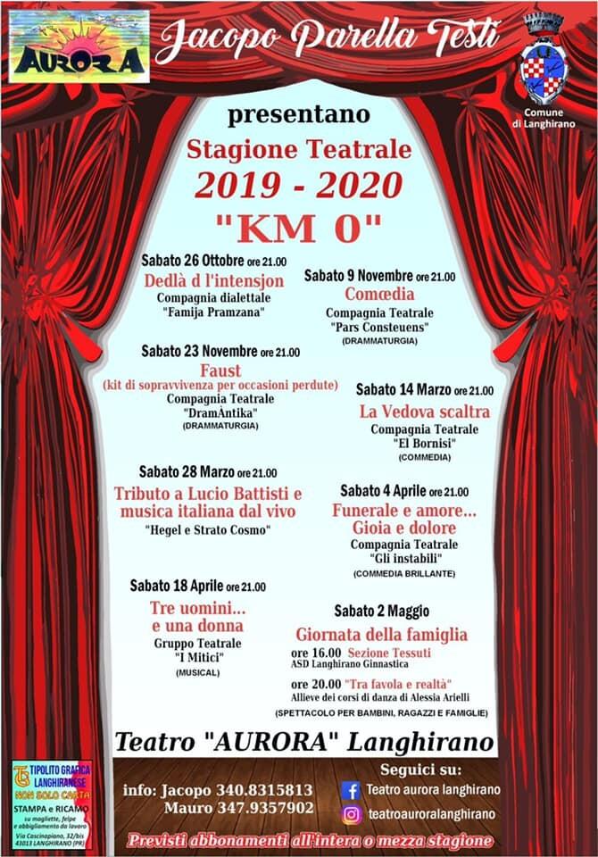 """""""Km 0""""  la Stagione Teatrale 2019-2020  del teatro Aurora di Langhirano"""
