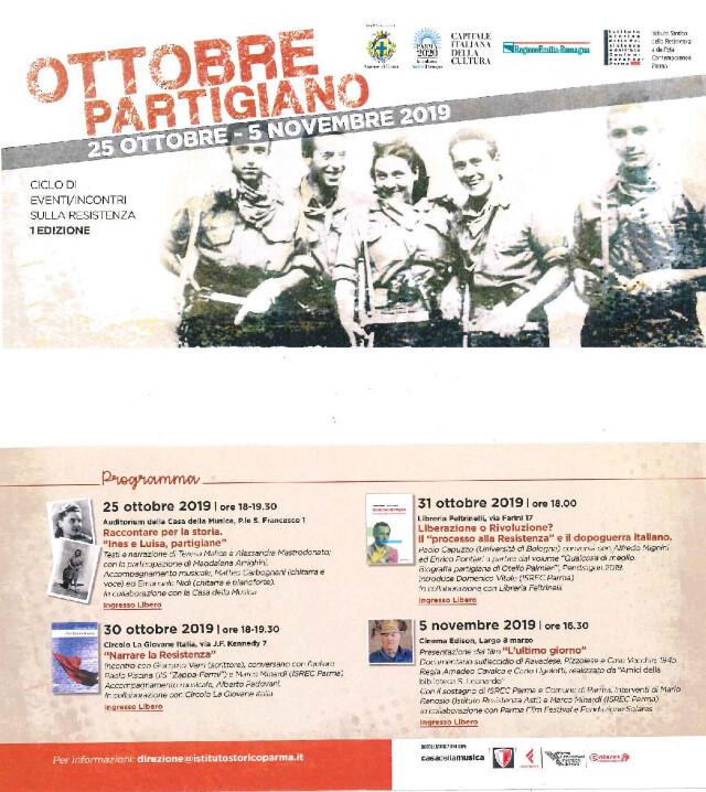 Ottobre partigiano, eventi/incontri sulla resistenza