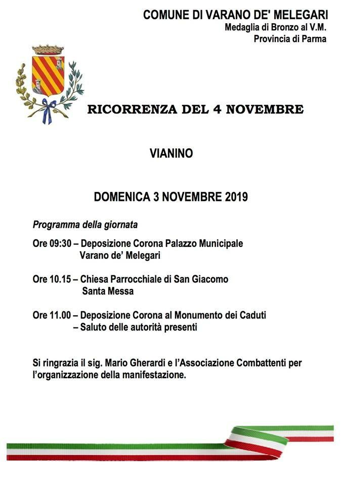Ricorrenza del 4 novembre a Vianino