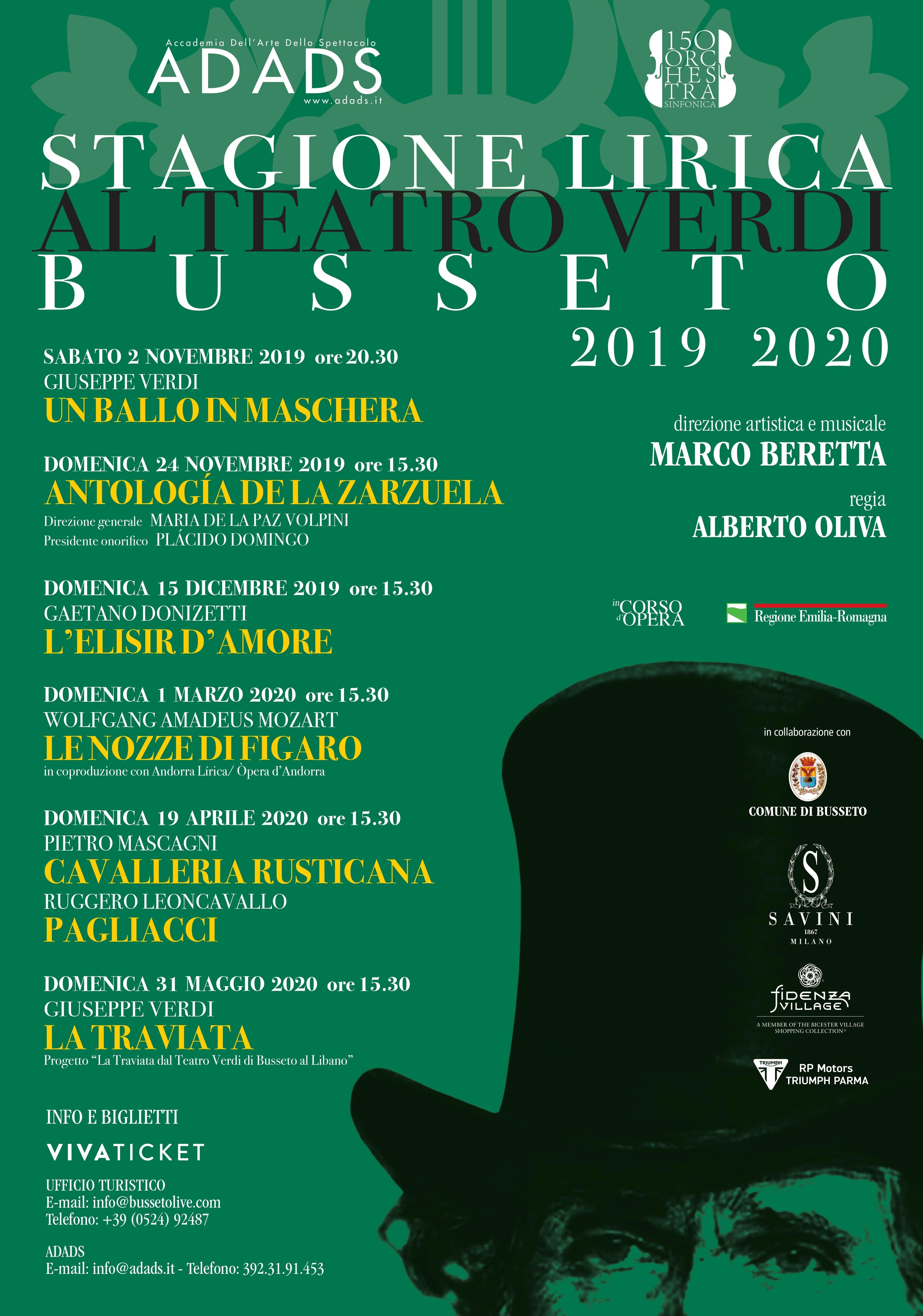STAGIONE LIRICA AL TEATRO VERDI 2019 – 2020 - Programma