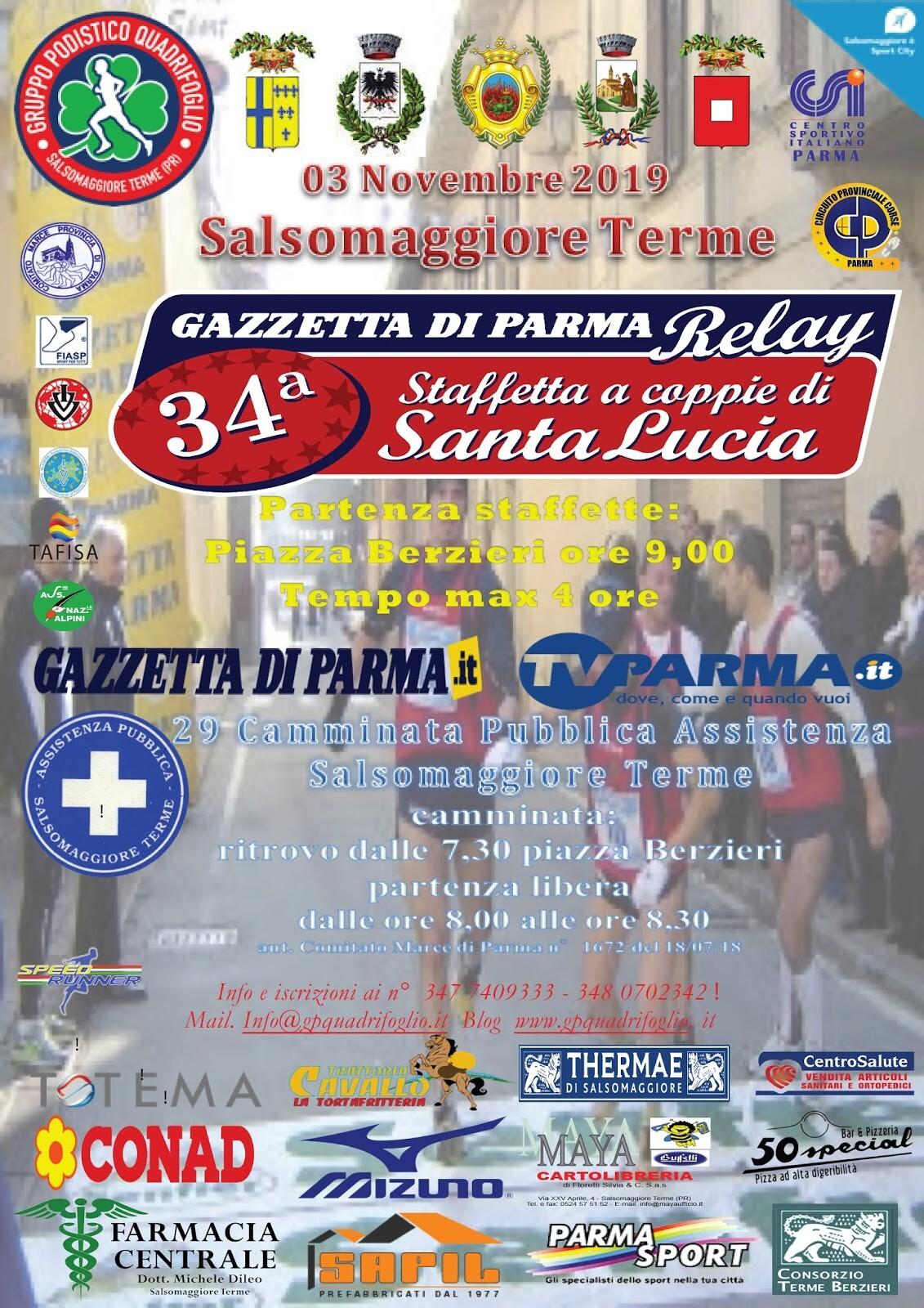 34^ Staffetta a coppie di Santa Lucia e Gazzetta di Parma Relay 29^ Camminata della Pubblica Assistenza