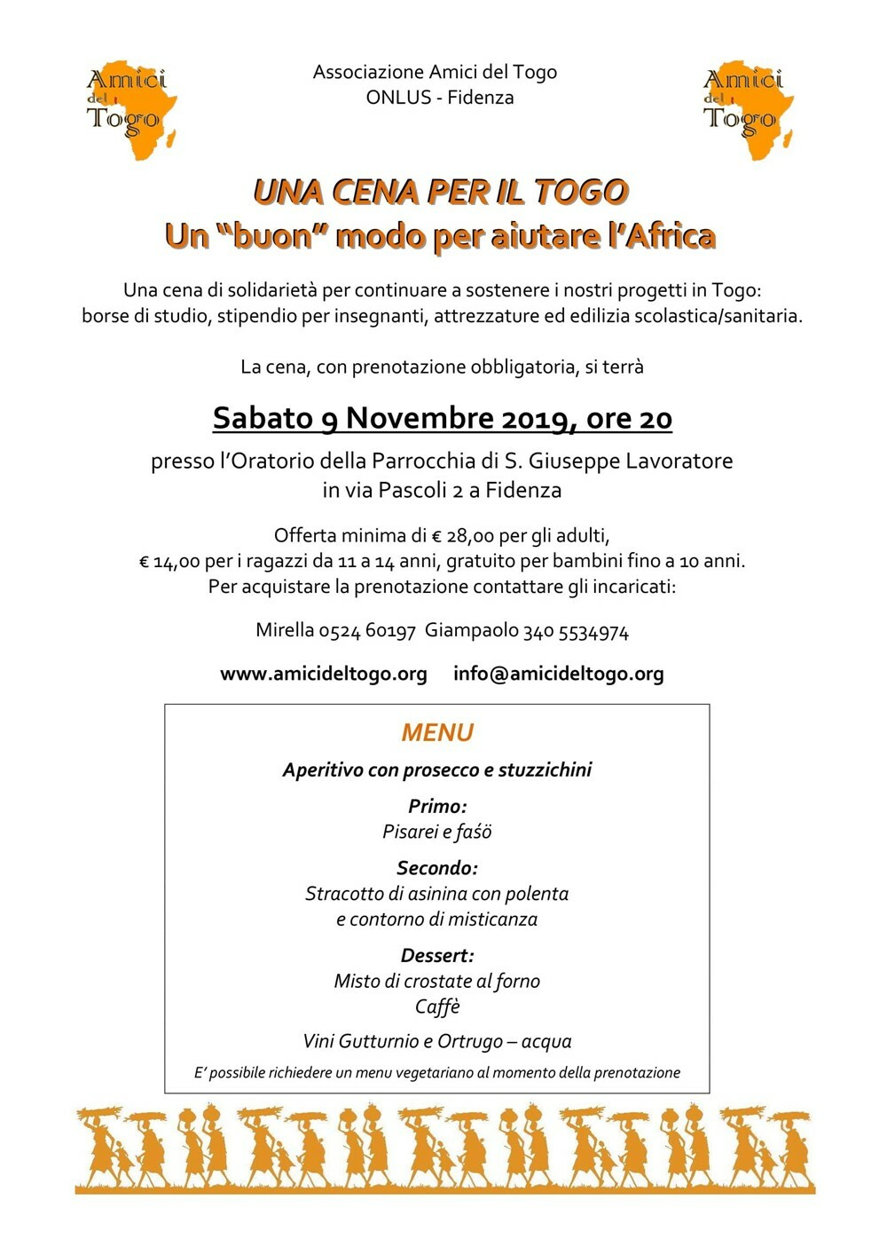Una cena per il Togo Il 9 novembre la cena di solidarietà organizzata da Amici del Togo