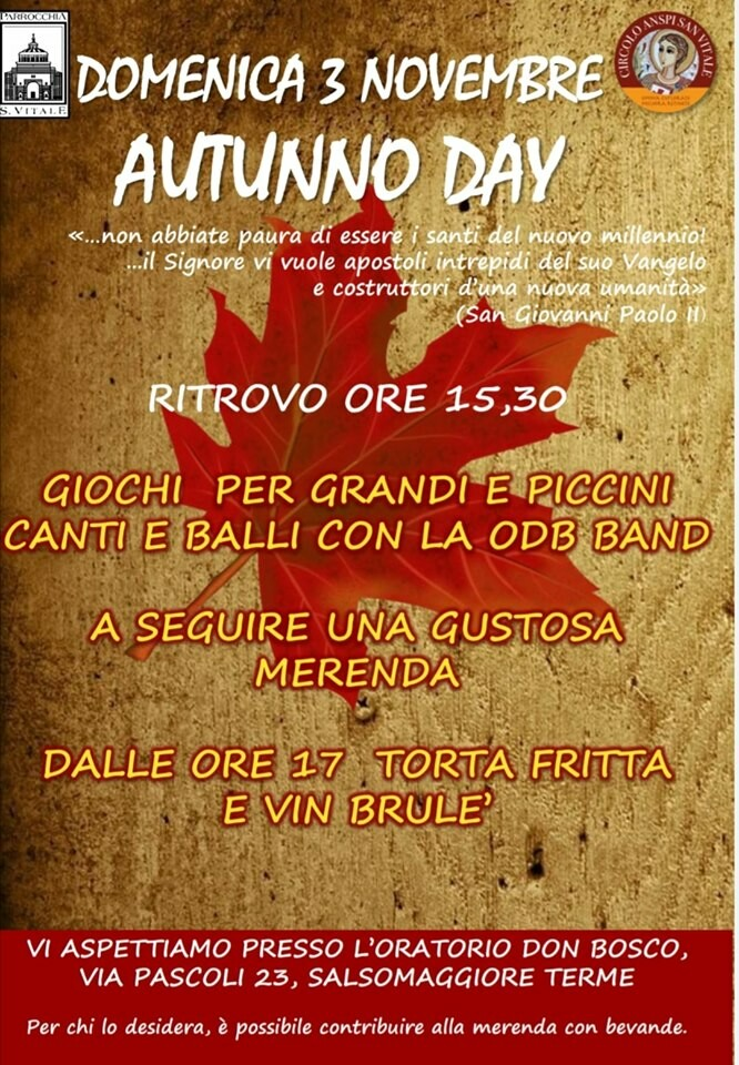Autunno day all'Oratorio don Bosco