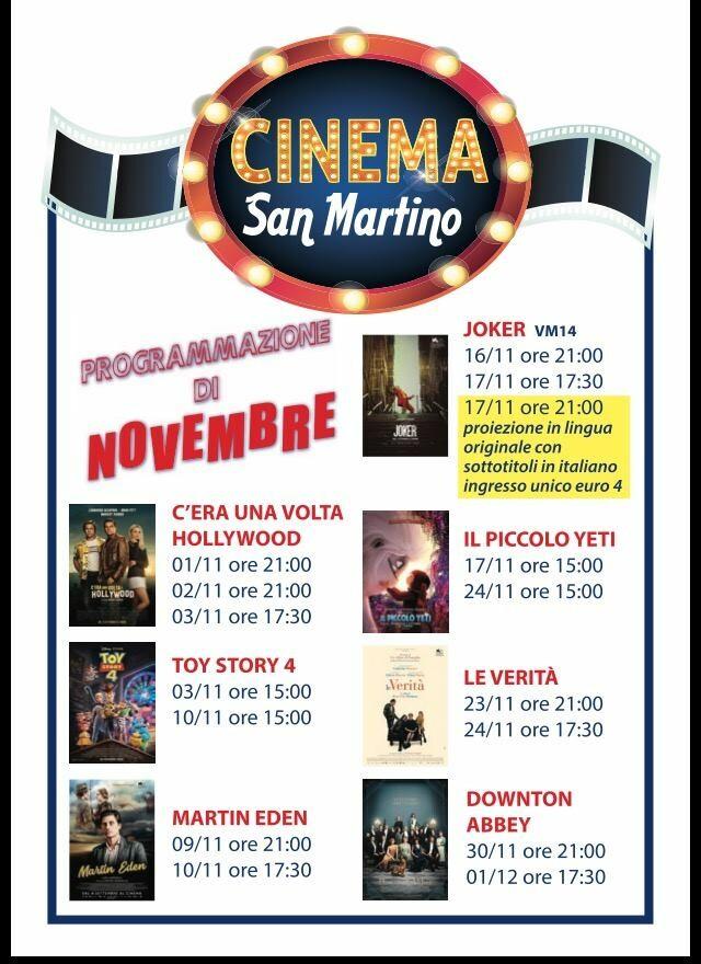 Cinema San Martino Noceto: programmazione novembre