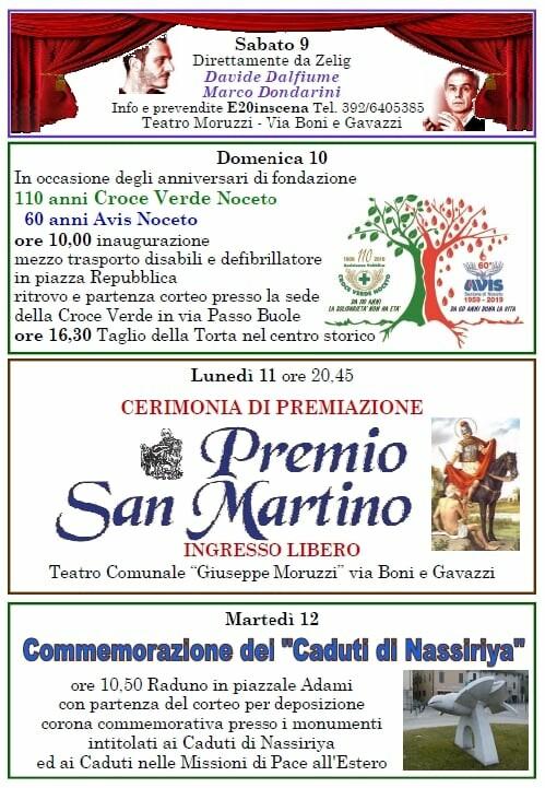 Eventi a Noceto dal 9 al 12 novembre