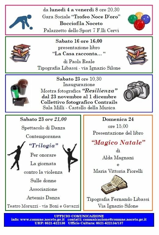 Eventi a Noceto dal 4 al 24 novembre